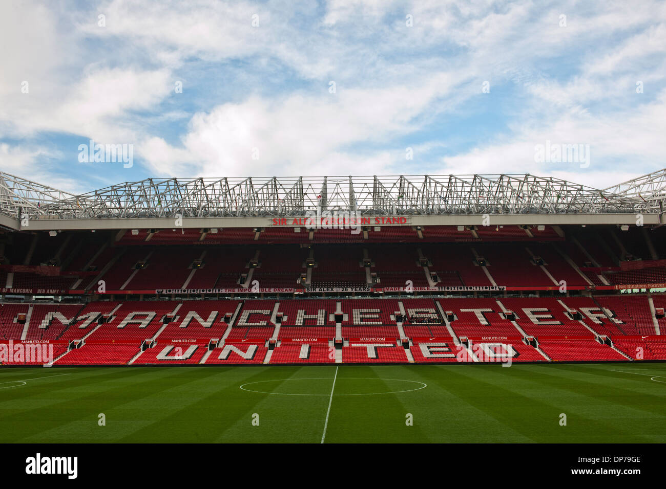 Old Trafford, home of Manchester United Football Club, Manchester, England, UK.; view of Sir Alex Ferguson Stand. - Stock Image