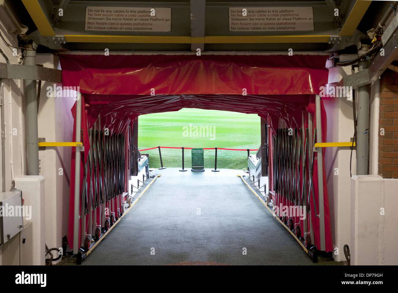 Old Trafford, home of Manchester United Football Club, Manchester, England, UK.; view of players tunnel. - Stock Image