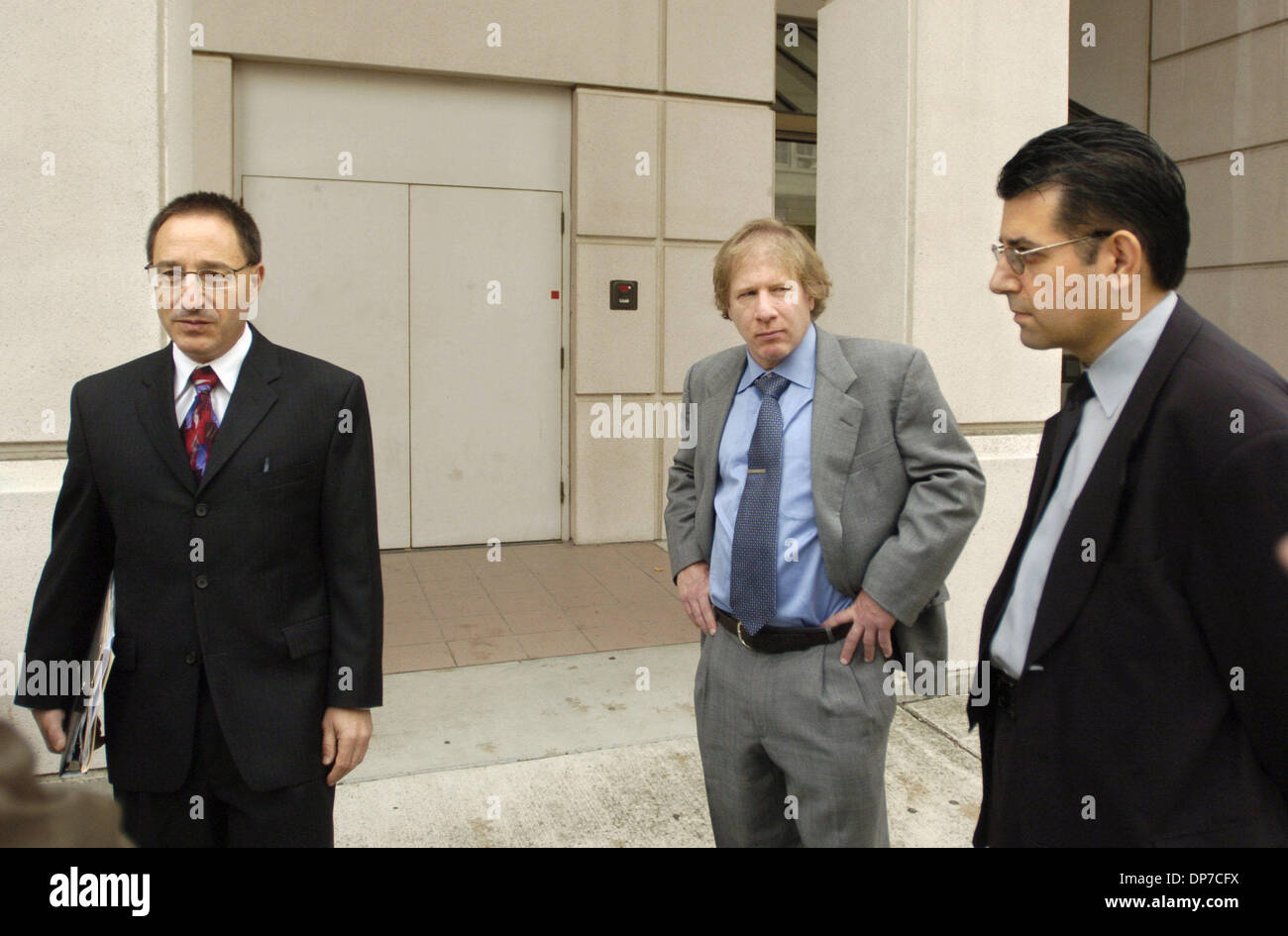 Nov 22, 2006; Martinez, CA, USA; At left, Attorney Daniel Horowitz talks about his client, Andrew Mantas, 16, not shown, outside of court in Martinez, Calif. on Wednesday  November 22, 2006.   At right is Andrew Mantas' father, Peter Mantas and, at center, is co-counsel, Ivan Golde.  The judge had a court hearing to decide if Andrew Mantas is psychologically competent to stand tria - Stock Image