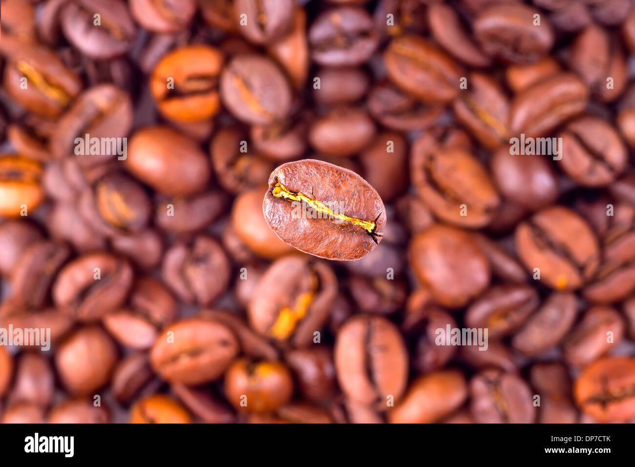 Coffee bean on blurred beans background - Stock Image