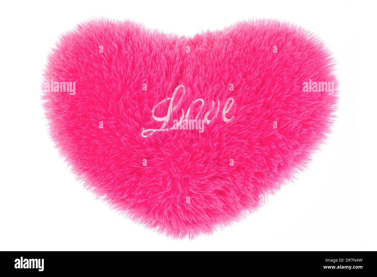Fluffy Heart Shaped Pillow Isolated. Valentines Day.   Stock Image