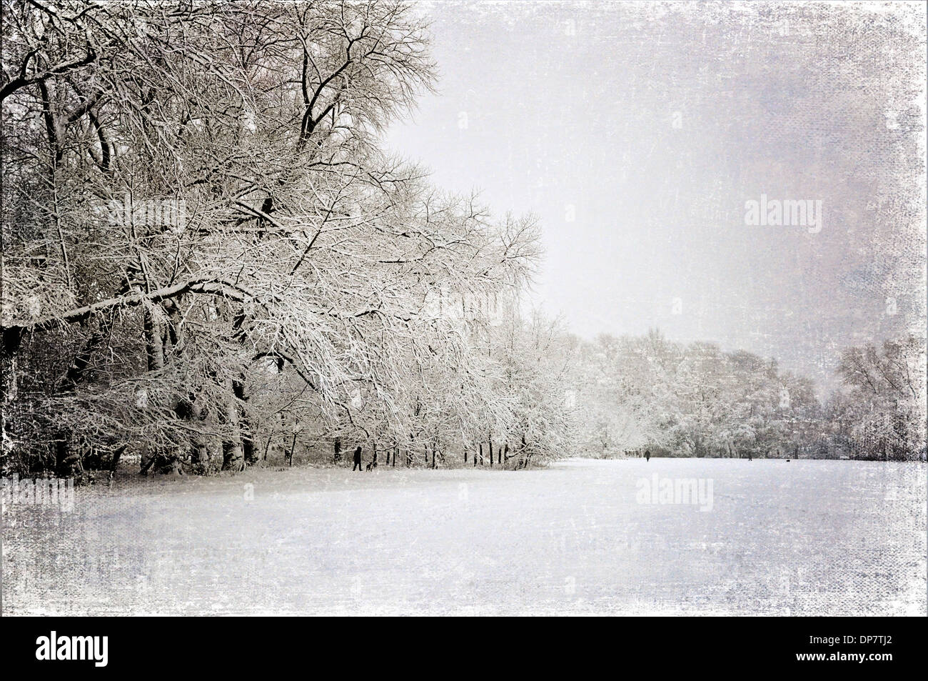 Snow covered park, with vintage look. - Stock Image