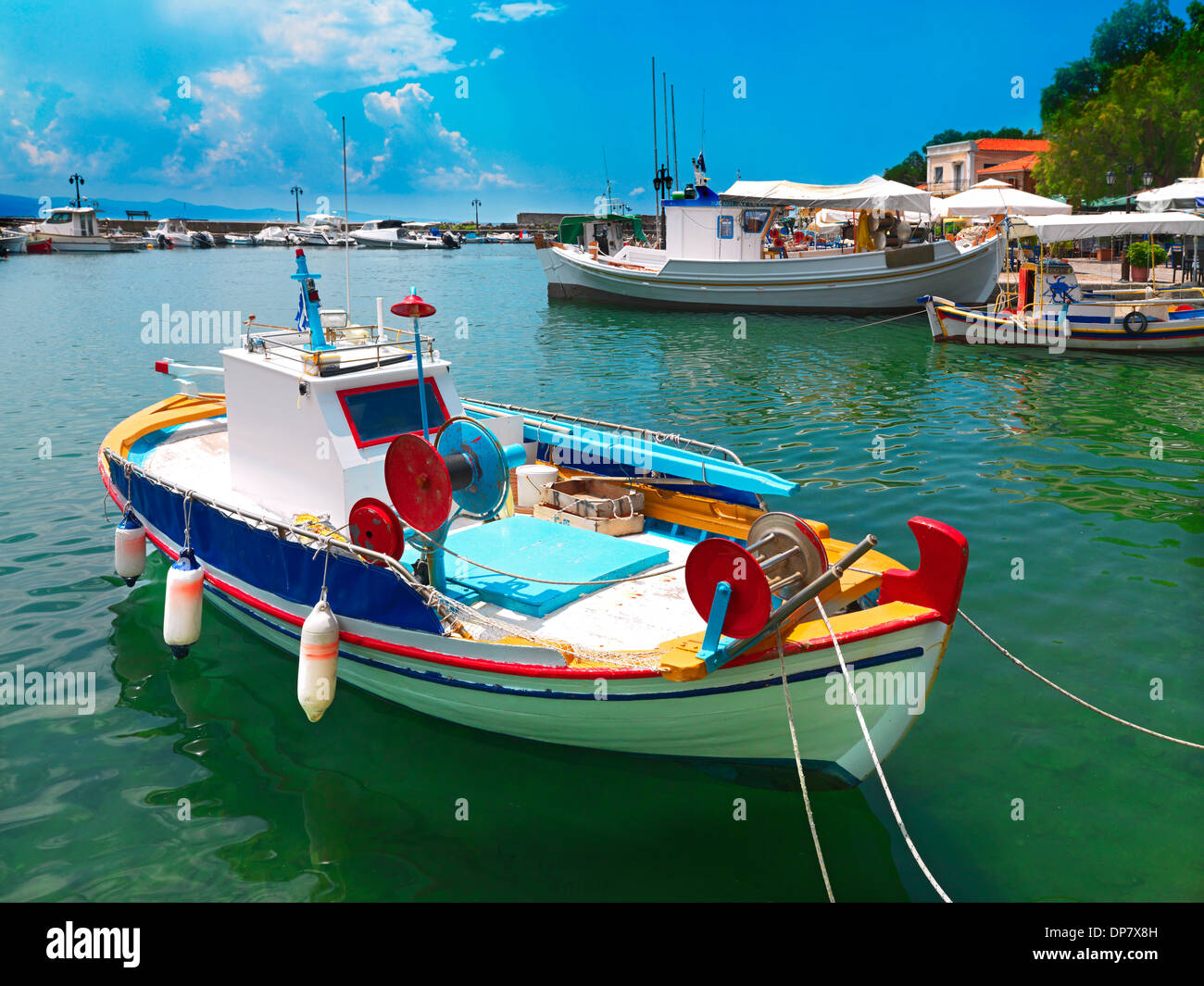 the port of Molivos, village in Lesvos island in Greece - Stock Image