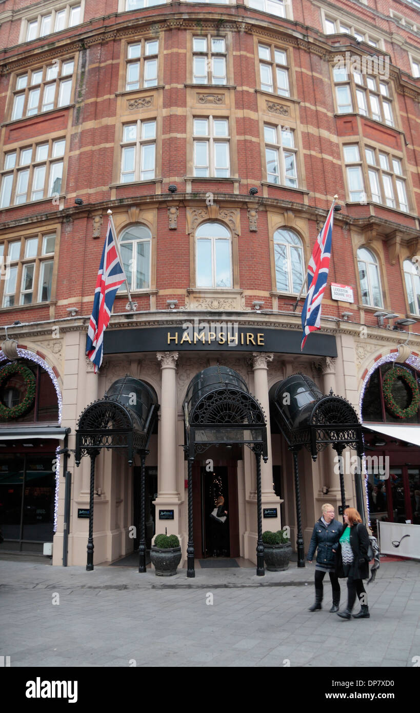 Main entrance to The Radisson Blu Edwardian Hampshire Hotel, Leicester Square, central London, UK. - Stock Image
