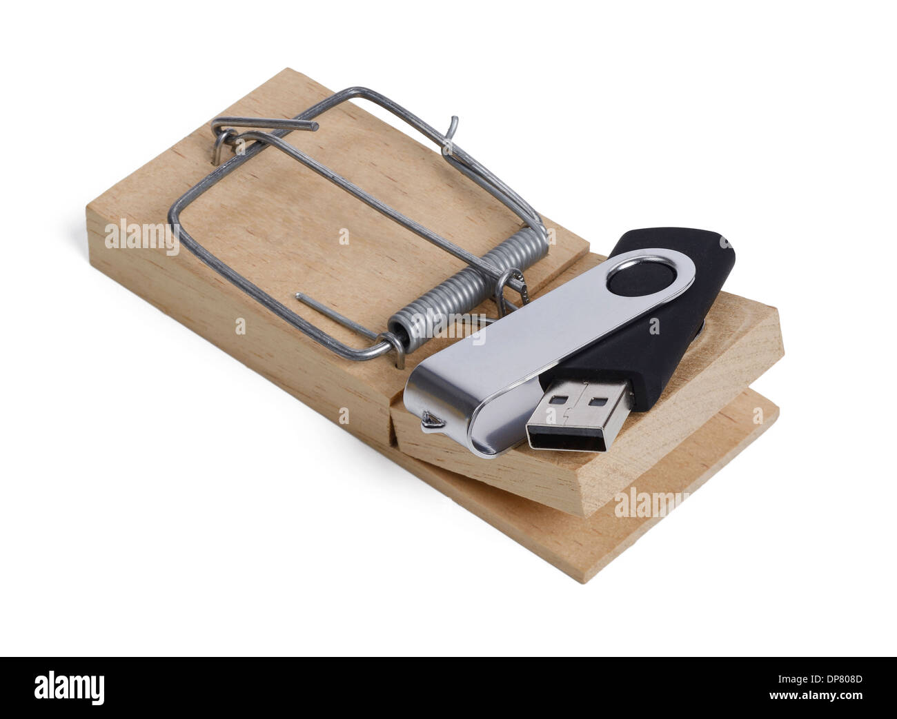 USB flash drive used as bait in a mouse trap - Stock Image