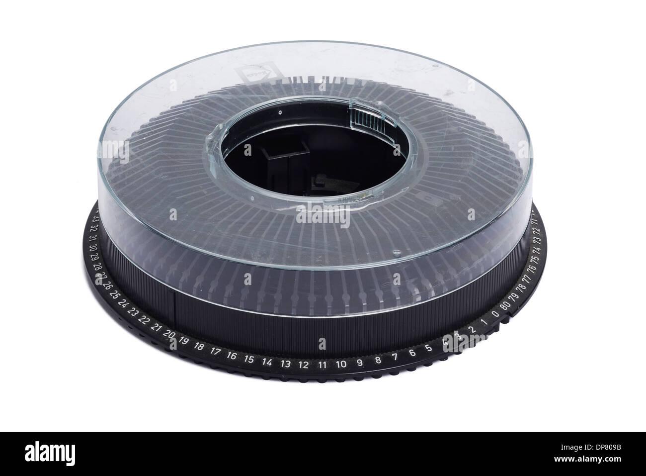 Kodak Carousel plastic circular slide tray for a slide projector - Stock Image