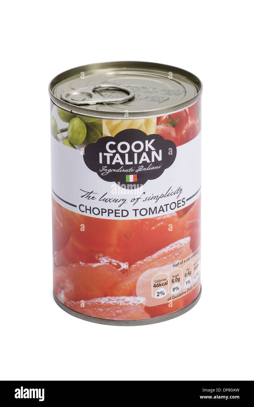 Tin of chopped tomatoes - Stock Image