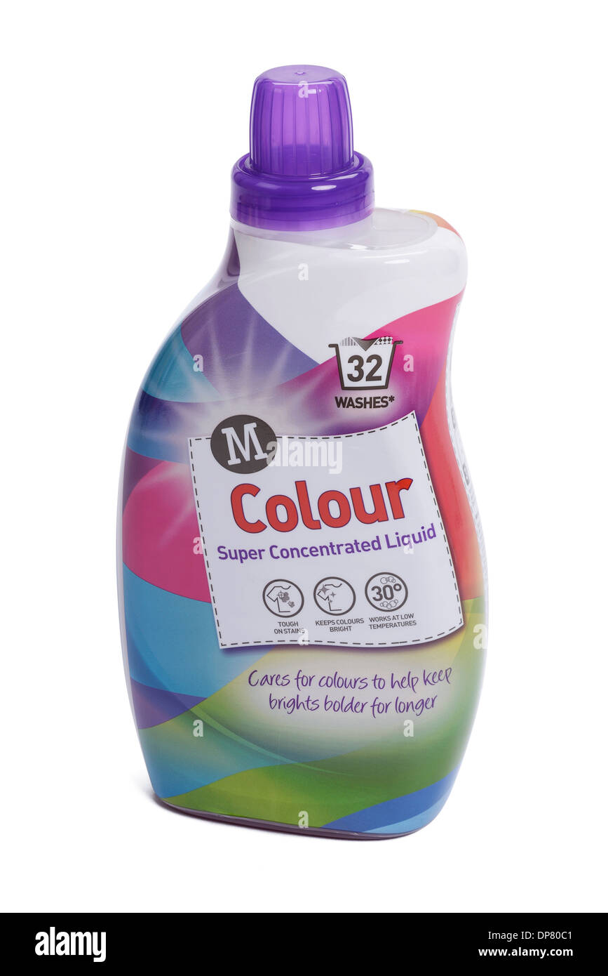 Plastic bottle of Morrisons own brand Colour laundry washing liquid - Stock Image