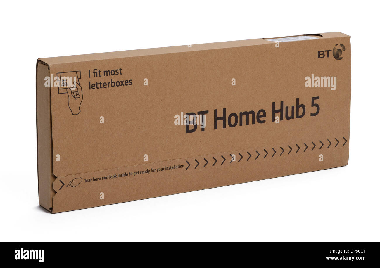 BT Home Hub 5 wireless router in postal packaging - Stock Image