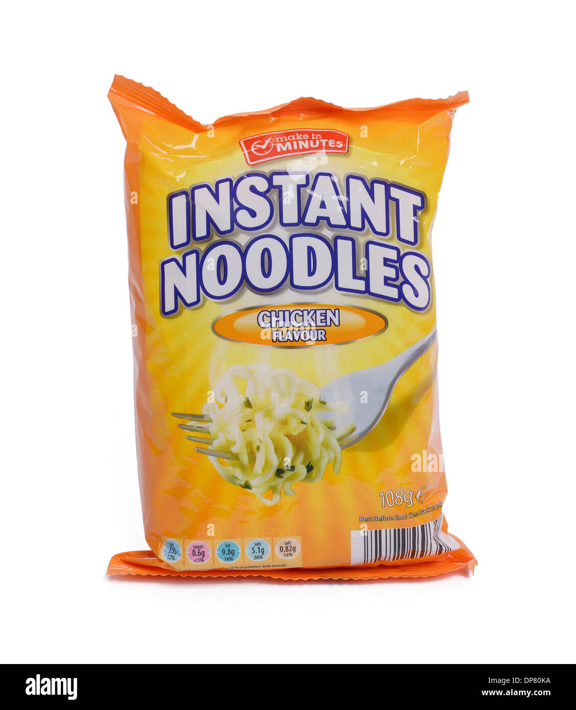 Packet of chicken flavour instant noodles - Stock Image