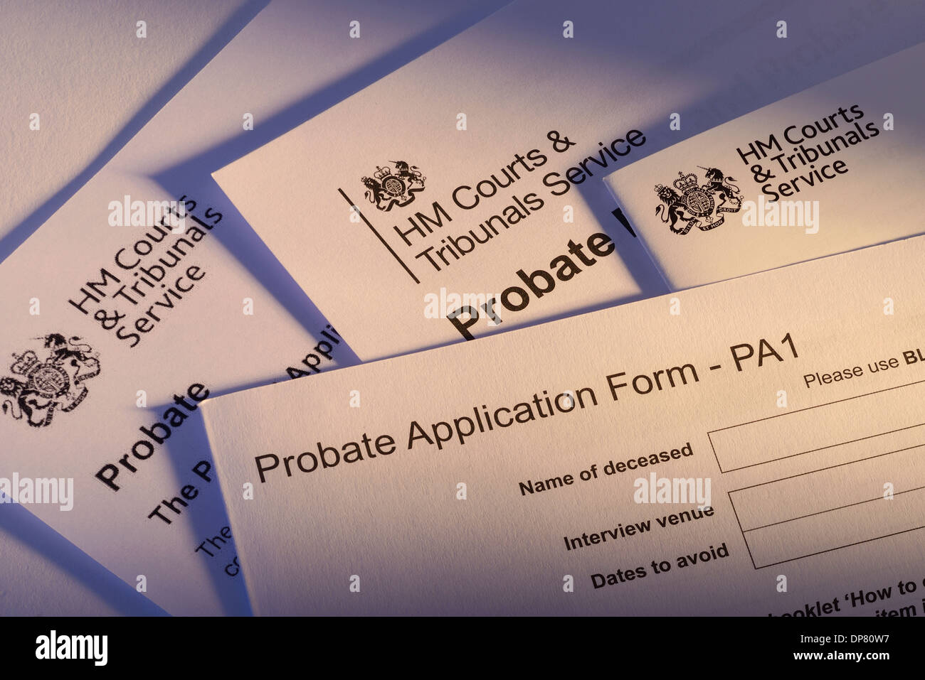 Paperwork and forms from HM Courts & Tribunals Service for Probate - Stock Image