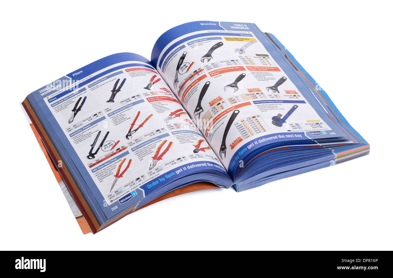 Wickes diy product catalogue open at a double page spread - Stock Image