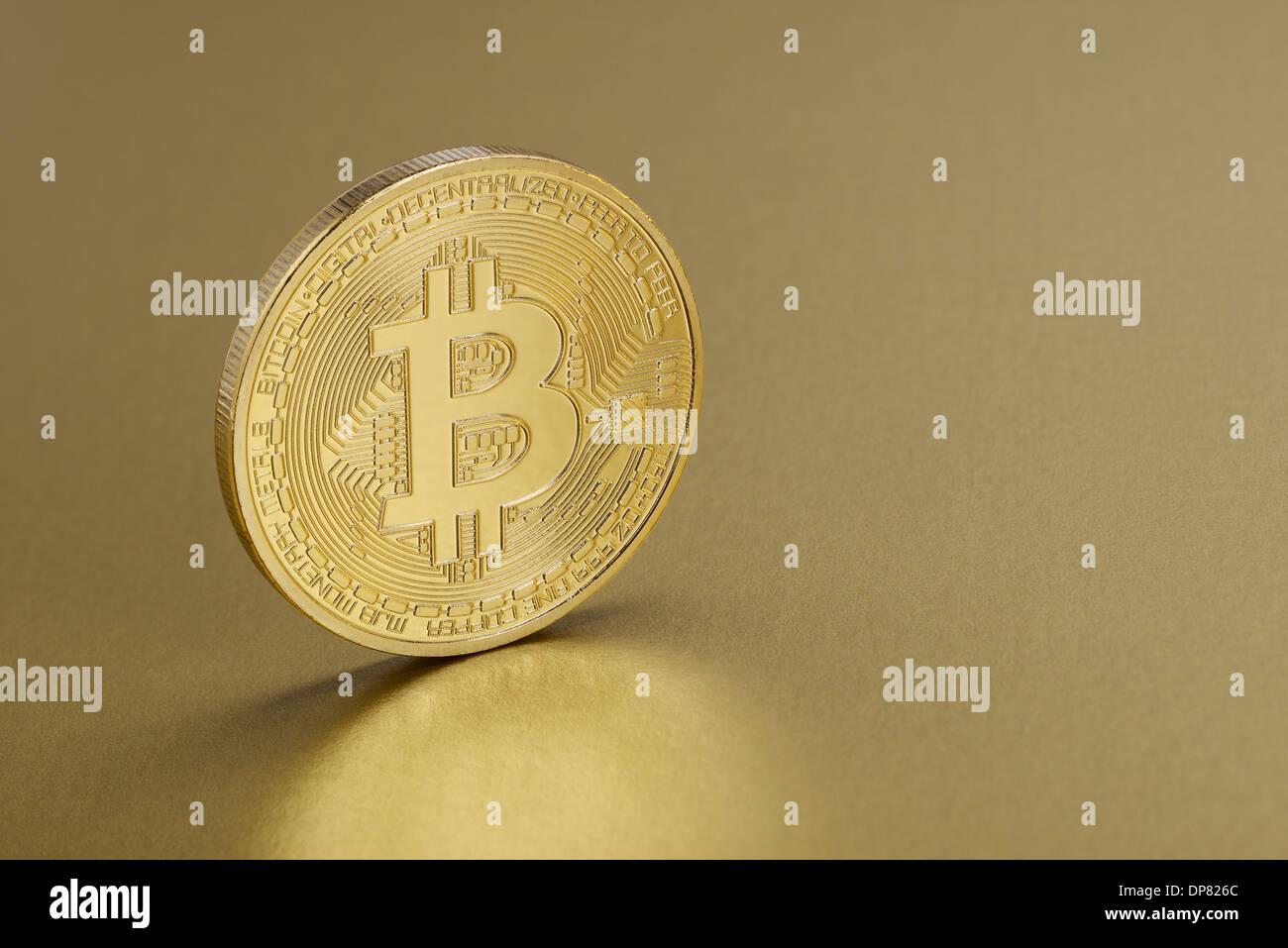 Golden Bitcoin coin - Stock Image