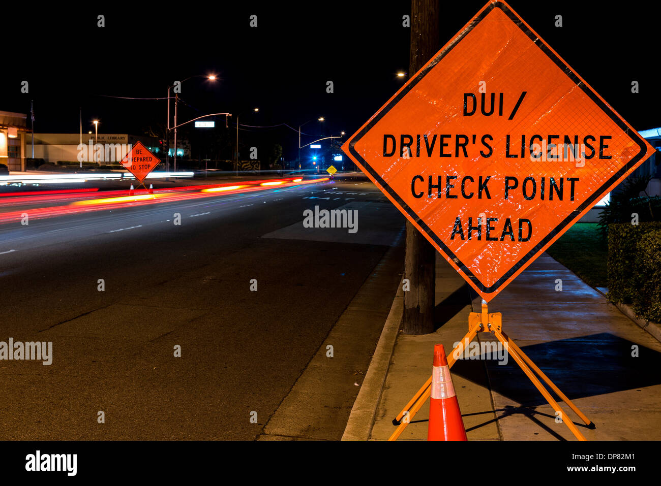 A DUI check point in Anaheim, CA. Stock Photo