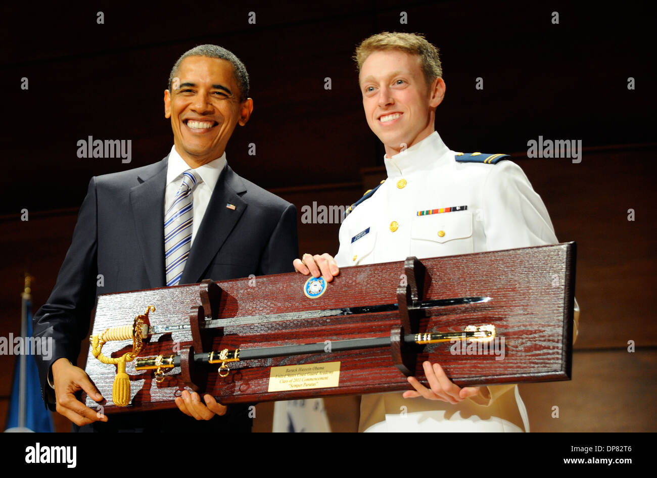 US President Barack Obama during the Coast Guard Academy's 130th commencement ceremony May 18, 2011 in New London, - Stock Image