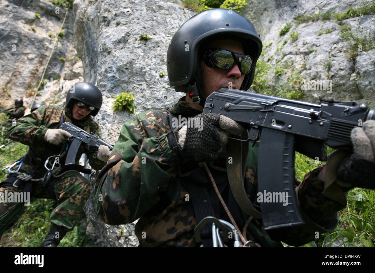 Members of the `GRU`(russian army central military intelligence department) Special Forces unit from Novovsibirsk undergo training at the `Hatsavita` mountain training center for special forces units located near the southern city of Labinsk, Russia, on Thursday, July 27, 2006.(Credit Image: © PhotoXpress/ZUMA Press) RESTRICTIONS: North and South America Rights ONLY! - Stock Image