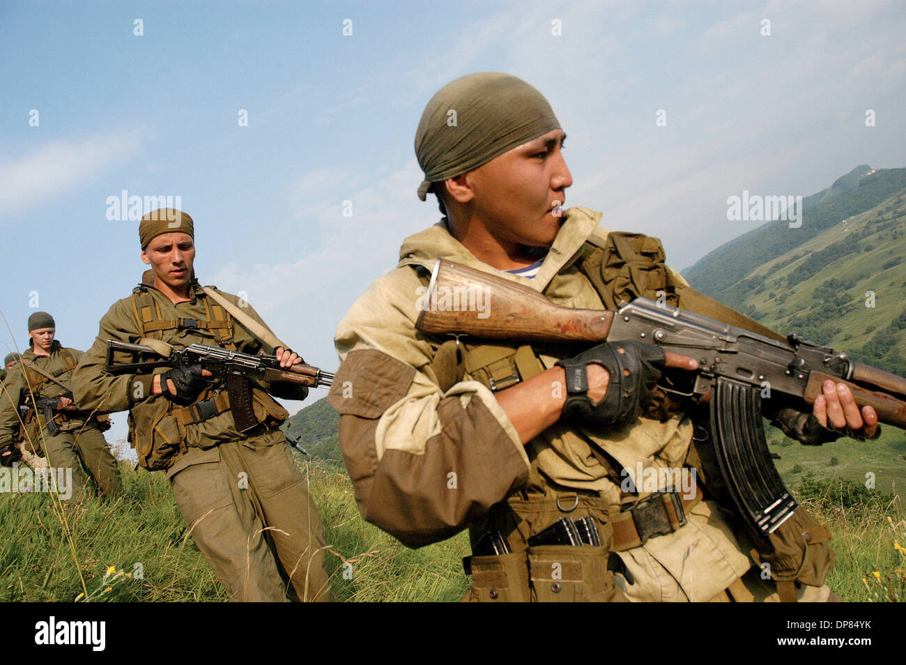 Russian army combat mountain conditions training in Krasnodar region of Russia which is very close to the Northen Caucasus (Chechnya, Georgia,Osetia,Abkhazia).(Credit Image: © PhotoXpress/ZUMA Press) RESTRICTIONS: North and South America Rights ONLY! - Stock Image