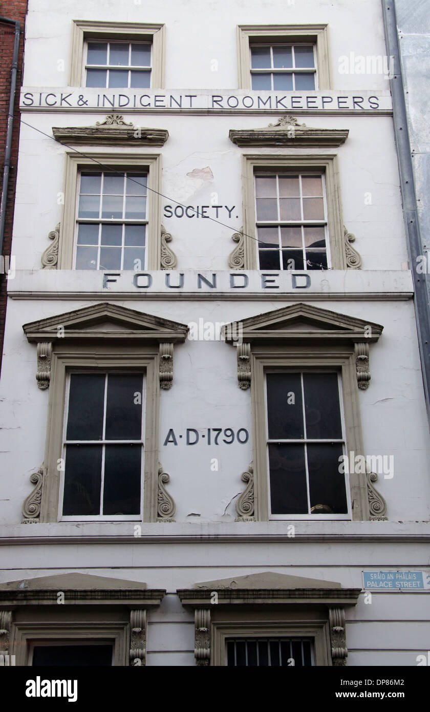 The Sick & Indigent Roomkeepers Society Building in Dublin which is its oldest charity and was founded in 1790 - Stock Image
