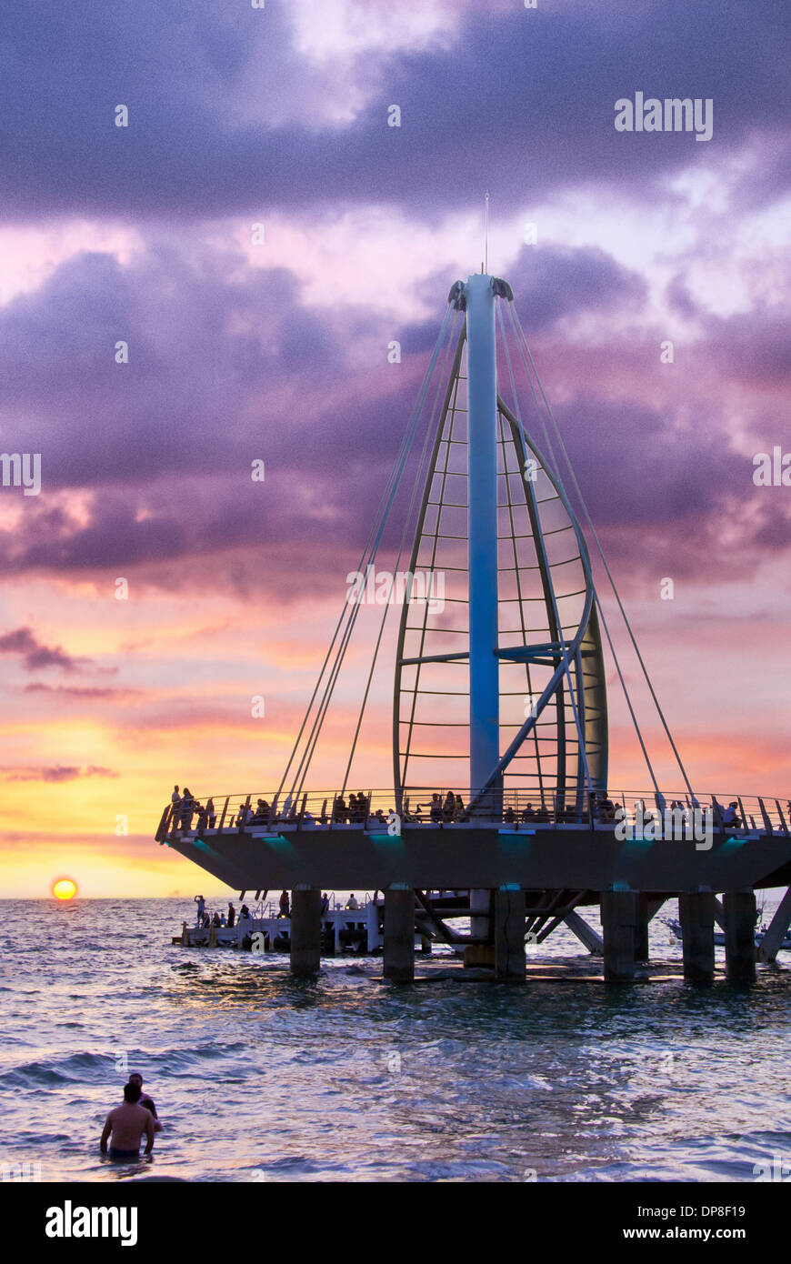 Sail sculpture at sunset, Puerto Vallarta, Jalisco, Mexico - Stock Image