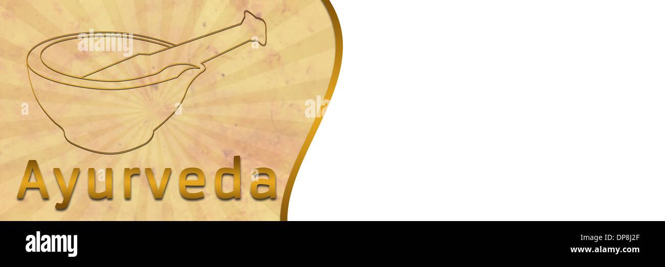 Ayurveda Banner With Brown Grunge Stock Photo Alamy