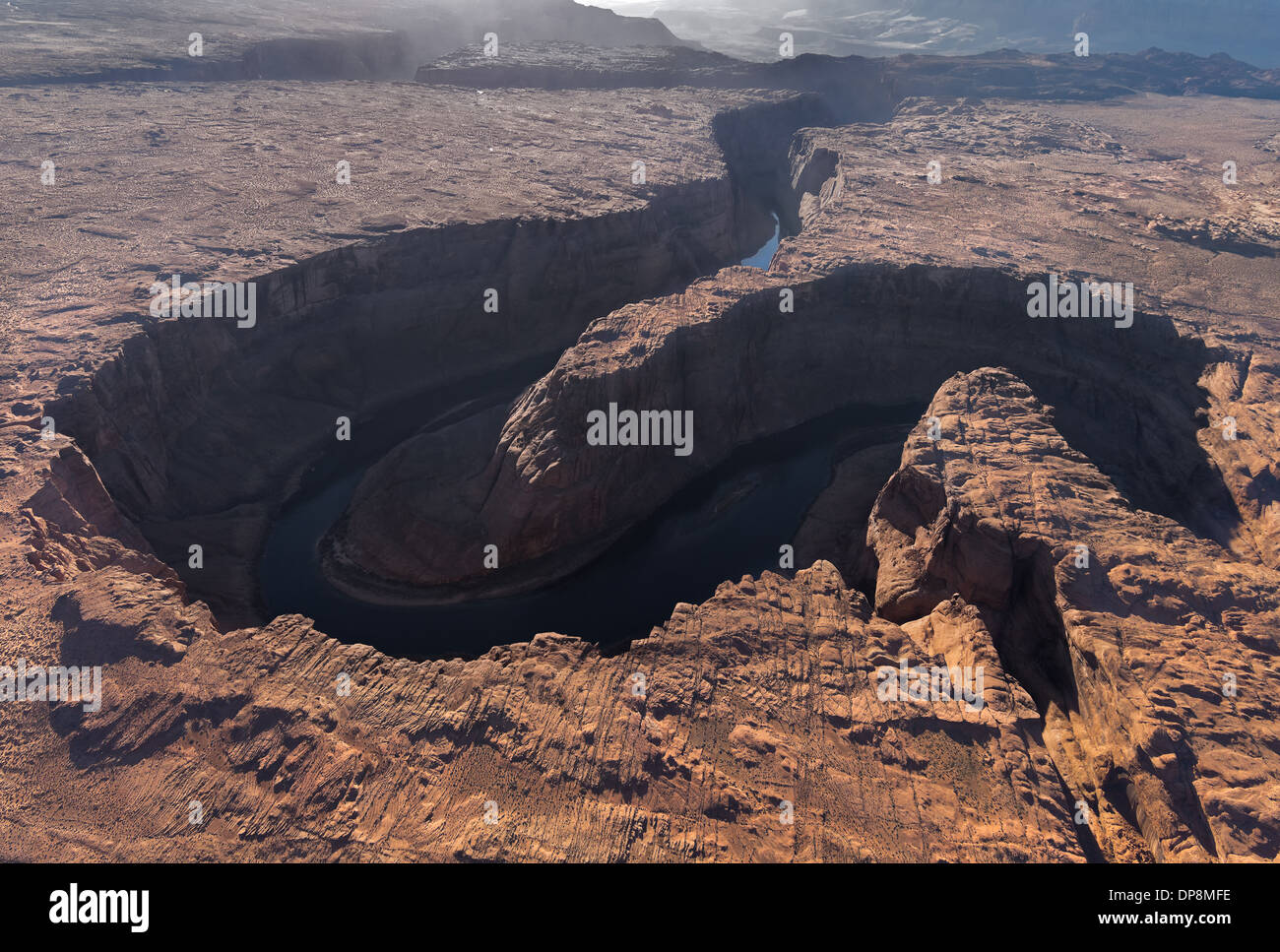 Aerial photography of Horseshoe Bend on the Glen Canyon USA Arizona - Stock Image