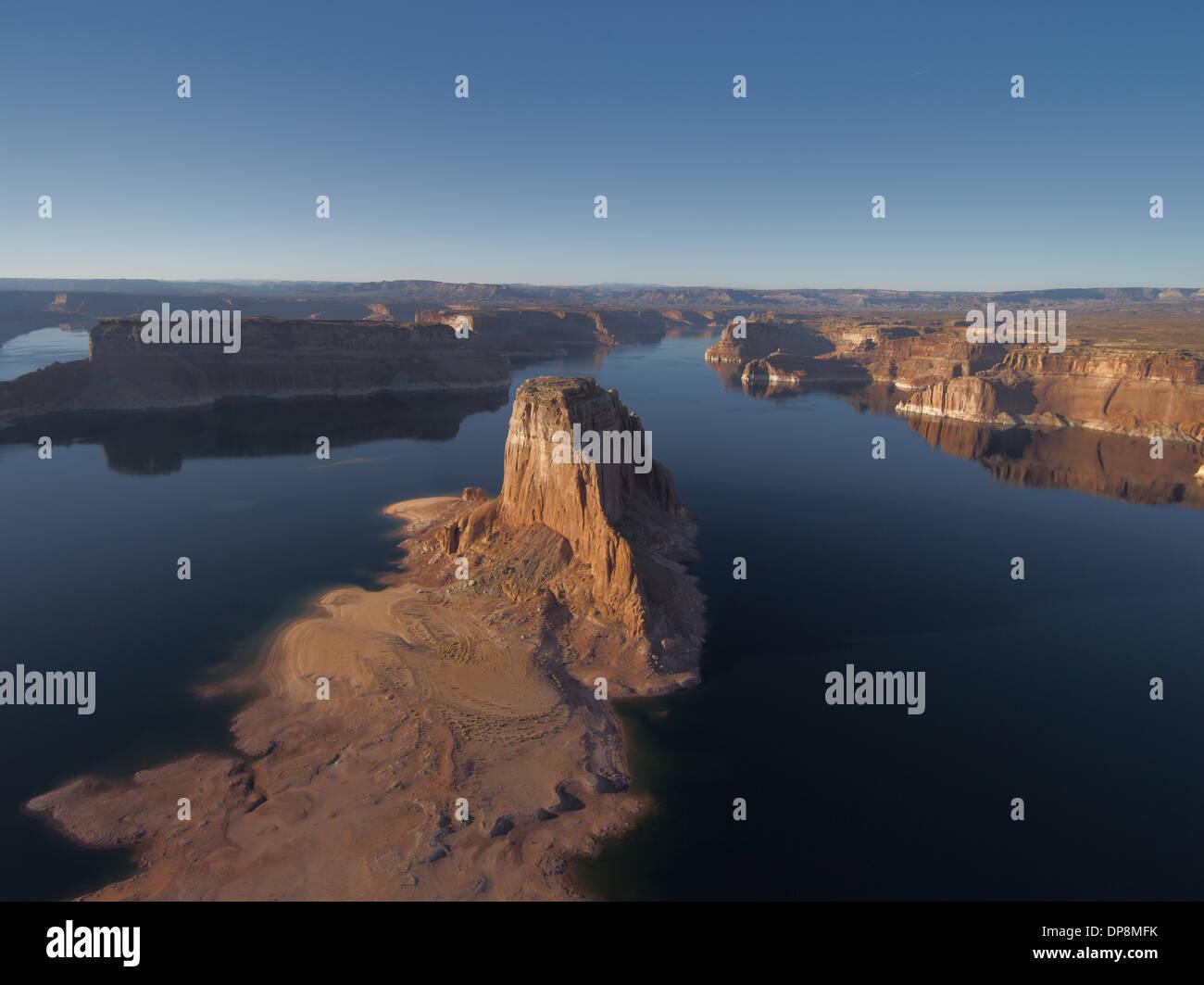 Aerial photography of Lake Powell on the Colorado River Arizona USA Stock Photo