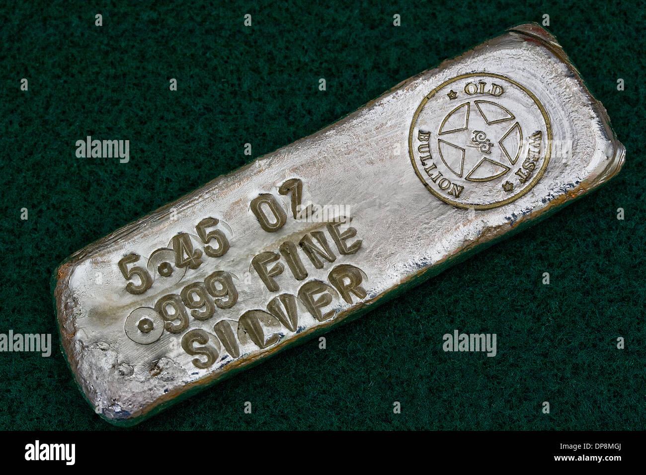 Stamped Silver Bullion Bar - Poured Ingot - Stock Image