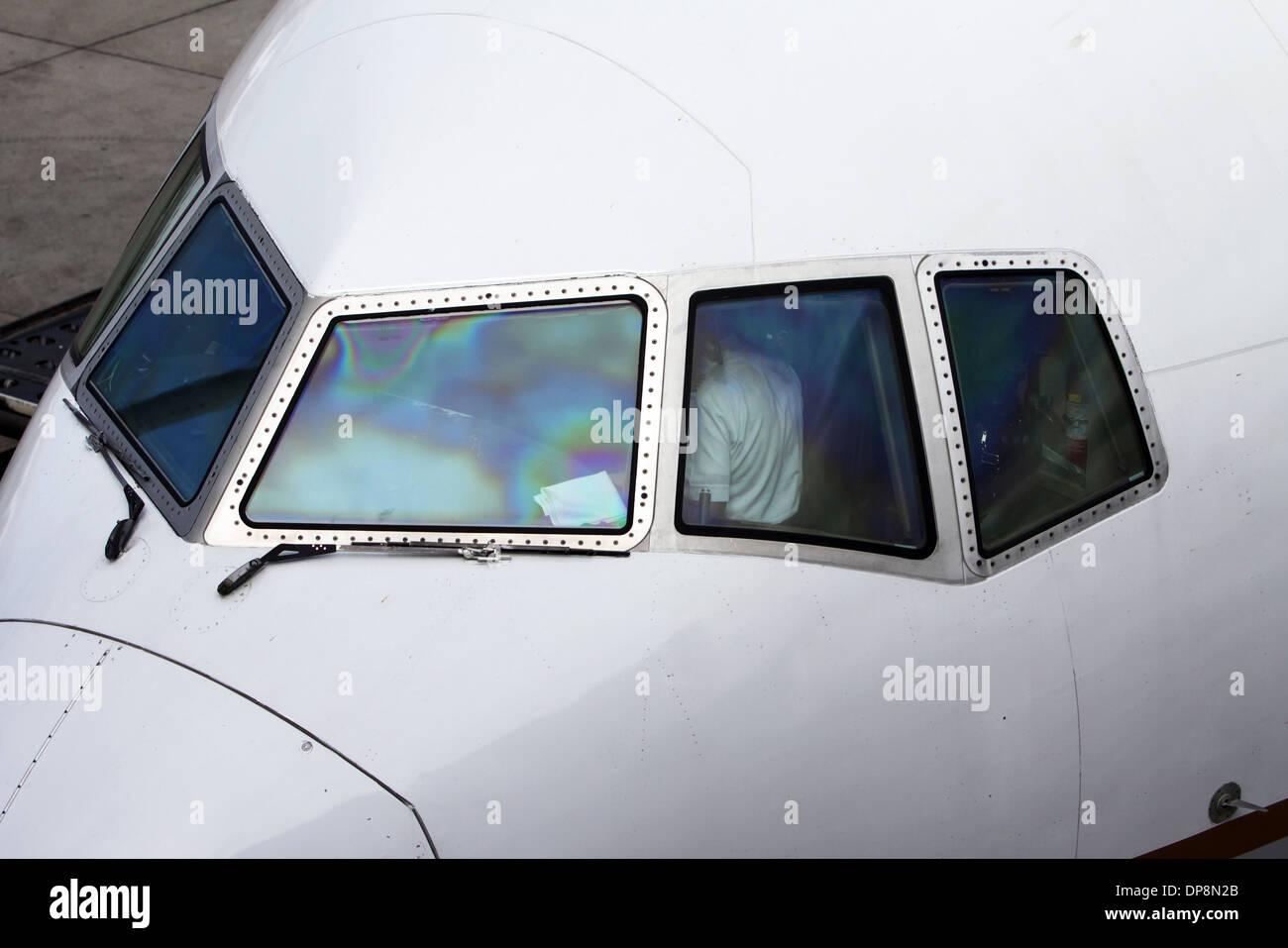 Aircraft Cokpit Windows Stock Photo