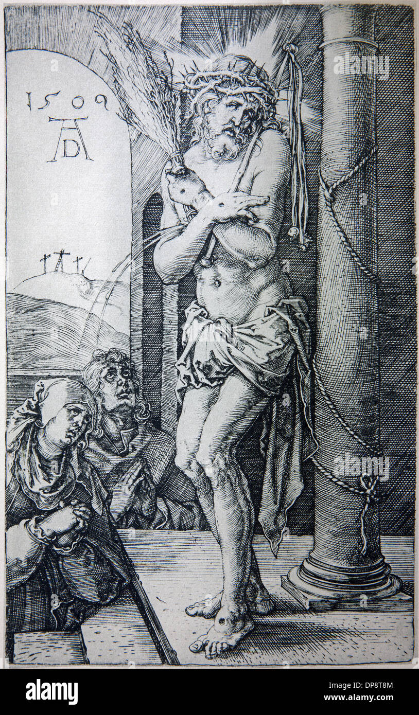Lithography of tortured Jesus Christ by Albert Durer. - Stock Image