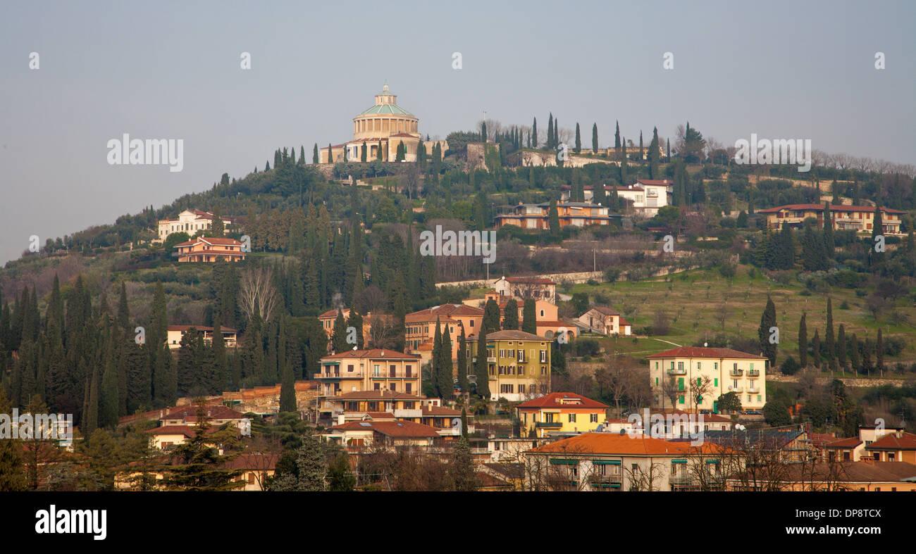 Verona - Santuario della Madonna di Lourdes from Caste San Pietro Stock Photo