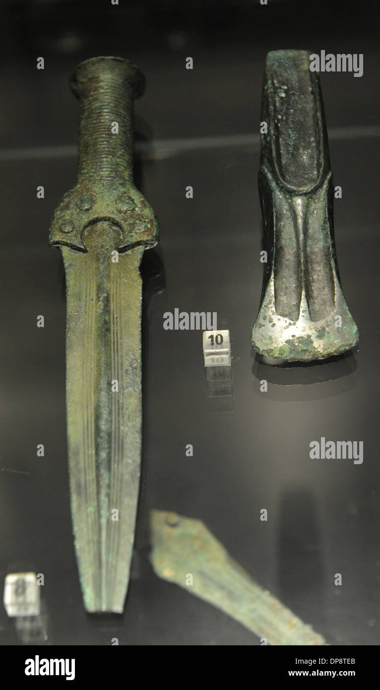 Prehistoric. Bronze Age. Northern Europe. Dagger and sword. From Dragsfjard. The National Museum of Finland. Helsinki. - Stock Image