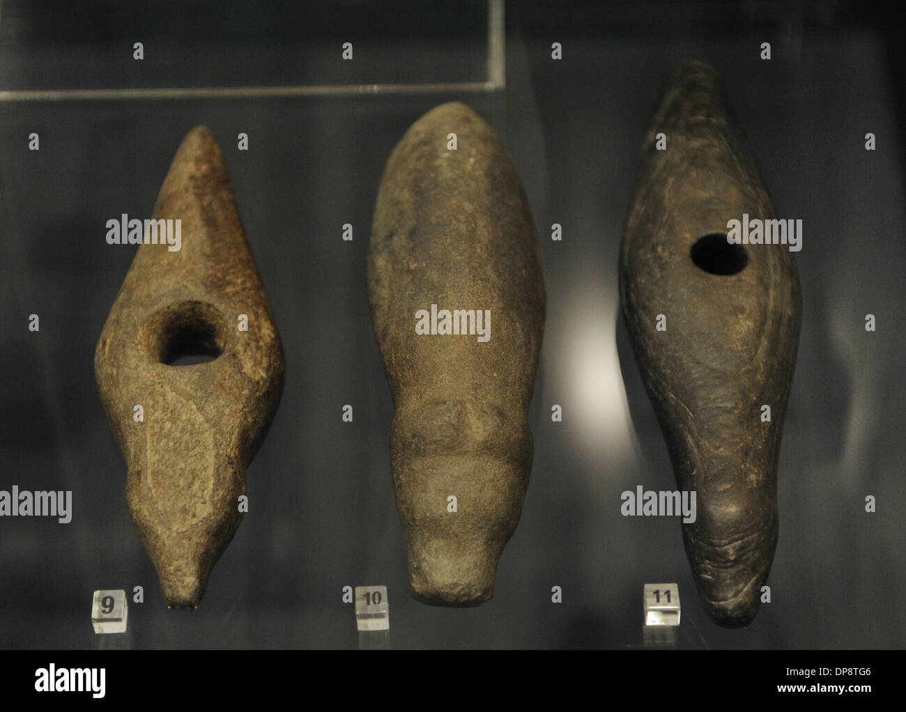 Prehistory. Northern Europe. Early Stone Age. Axes decorated with carved animal heads. Bear, elk, duck. - Stock Image