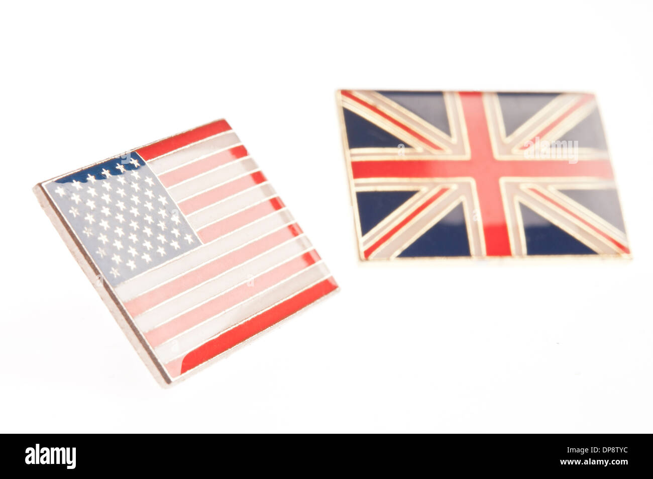 USA and UK lapel pins - Stock Image