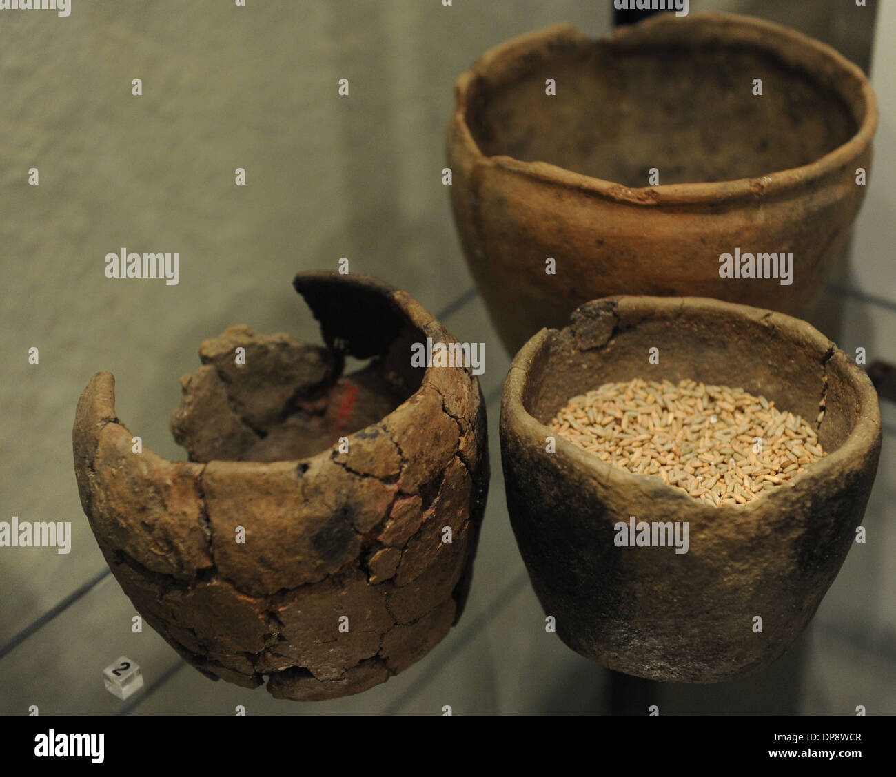 Prehistory. Finland. Europe. Pottery of the Iron Age. The National Museum of Finland. Helsinki - Stock Image