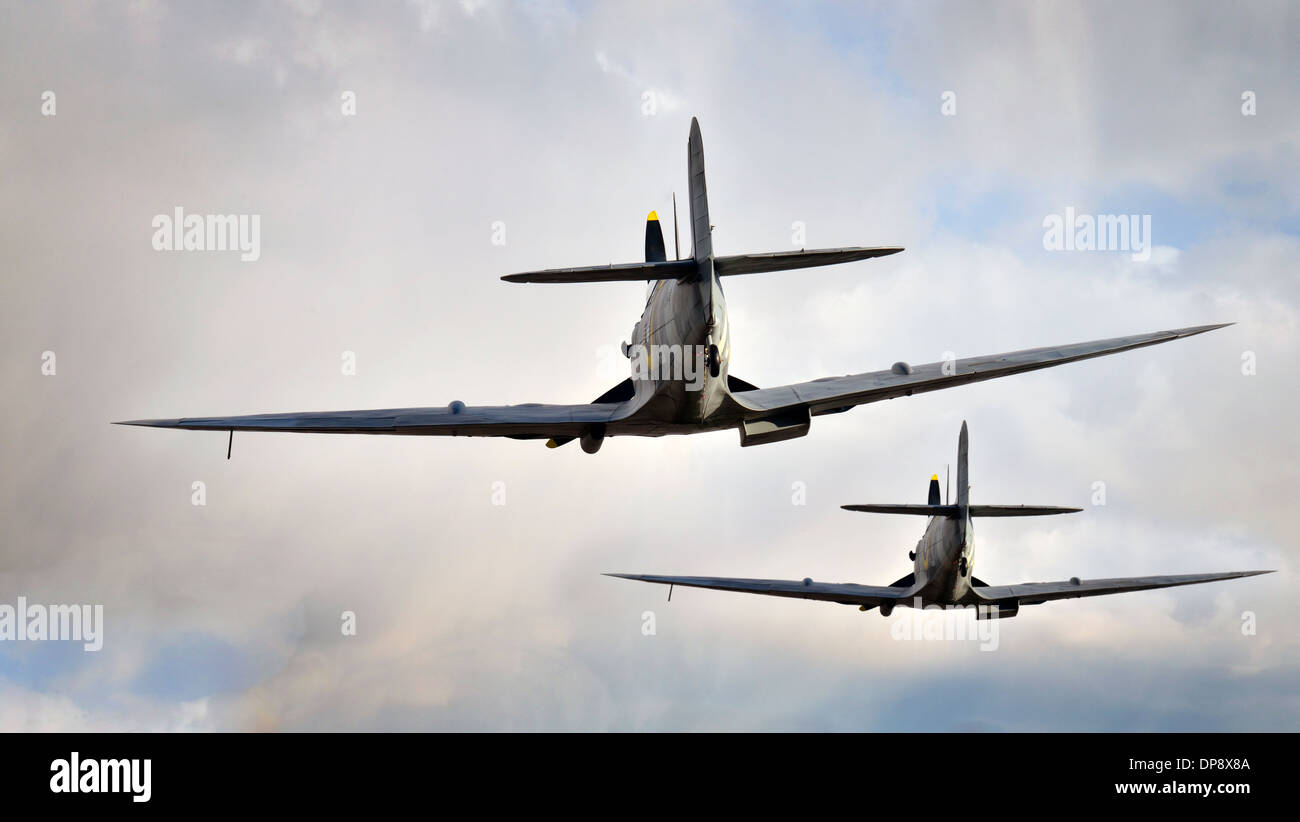 spitfire airplanes flying. - Stock Image
