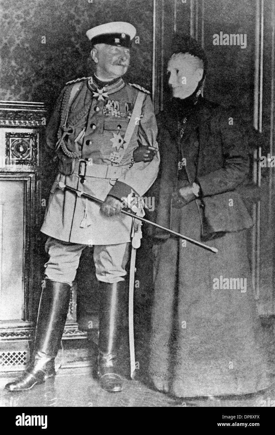 Commander-in-chief of the German troops during the Boxer Rebellion, Alfred Graf von Waldersee, with his wife shortly before the departure to China. Climax of the Boxer Rebellion was the assassination of the German ambassador Klemens Freiherr von Ketteler on the 19th of June in 1900 as well as the besiegement of the embassy quarter in Beijing from the 20th of June until the 14th of August in 1900 by an expedition corps consisting of eight states (Germany, France, Great Britain, Italy, Japan, Austria-Hungary, Russia and the USA). Numerous bloody punitive expeditions against the rebels (boxers = - Stock Image