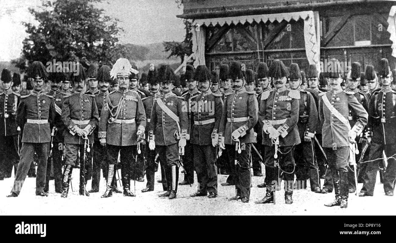 Officers and crews of the 1st sea battalion which is sent to China to suppress the Boxer Rebellion. Major general von Höpfner is 3rd of left in the first row. The Chinese boxer secret society Yi-he tuan had committed robberies of institutions and foreigners in China, partly supported by the imperial Chinese government. Climax of the Boxer Rebellion was the assassination of the German ambassador Klemens Freiherr von Ketteler on the 19th of June in 1900 as well as the besiegement of the embassy quarter in Beijing from the 20th of June until the 14th of August in 1900 by an expedition corps consi - Stock Image