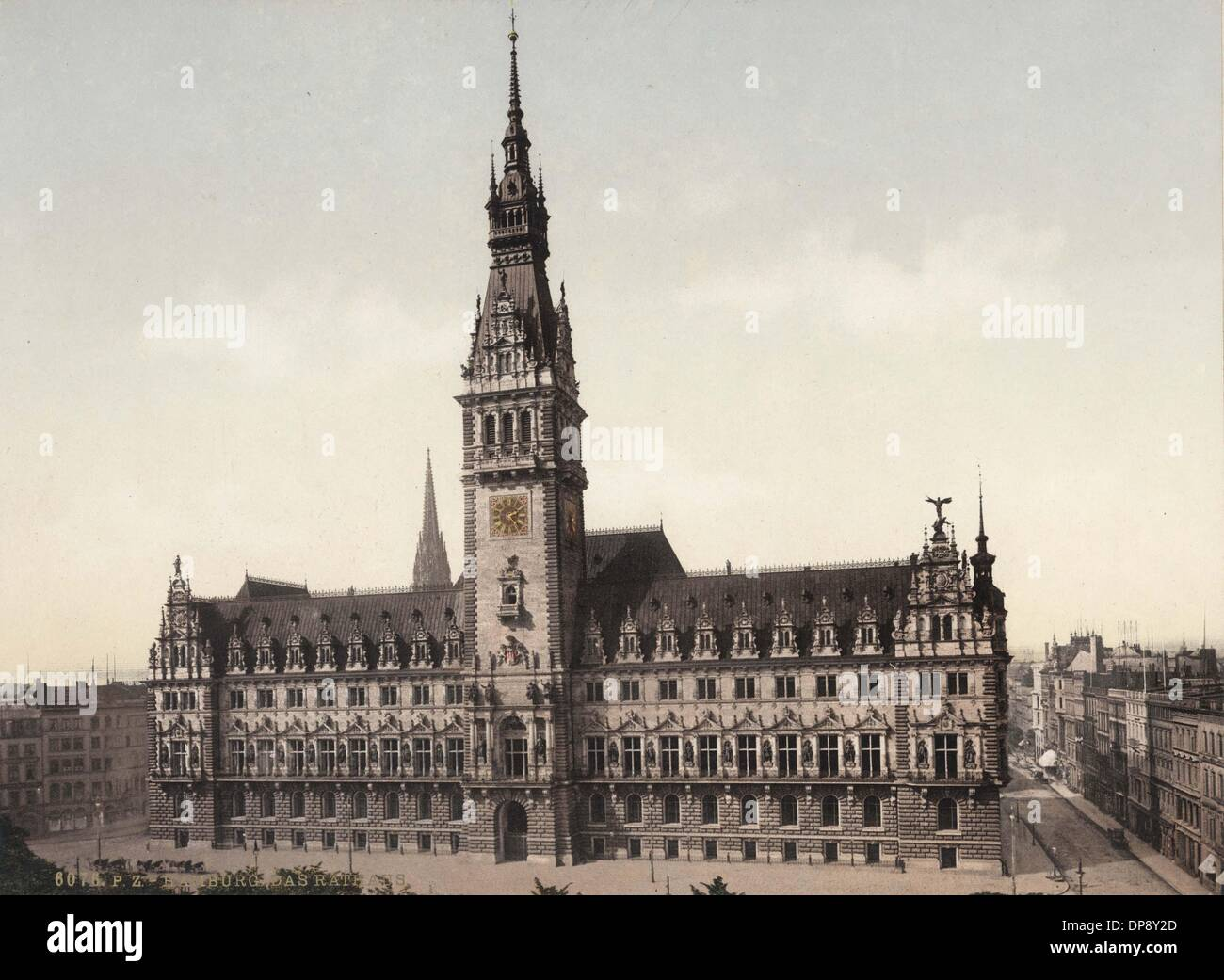 The historical photograph from around 1900 shows the town hall and market square in Hamburg.  Photo: Collection Sauer - Stock Image