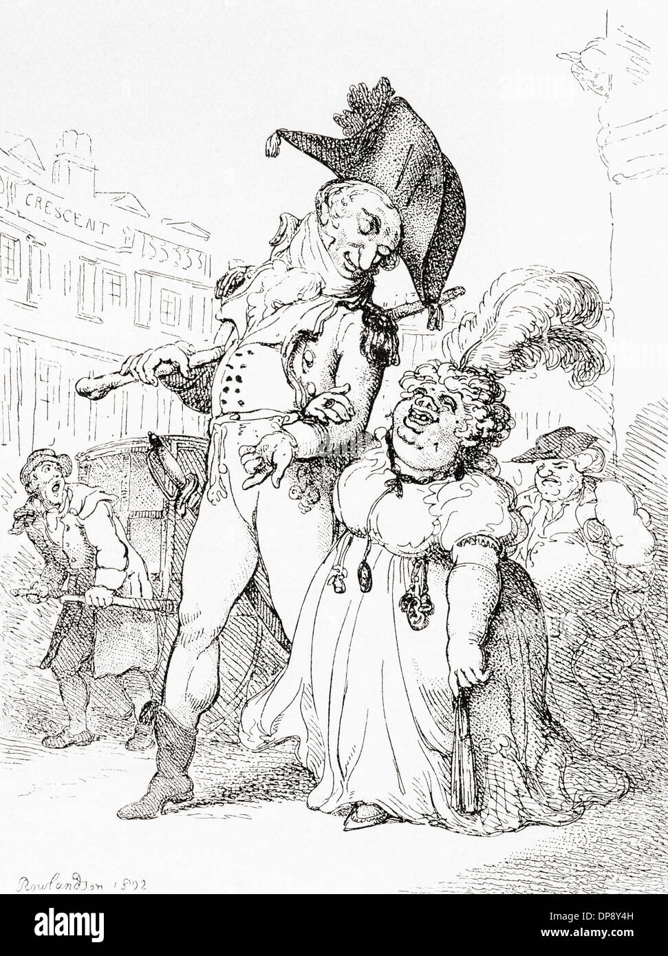 The Successful Fortune Hunter, Or Captain Shelalee leading Miss Marrowfat to the temple of hymen, after Thomas Rowlandson, 1802. - Stock Image
