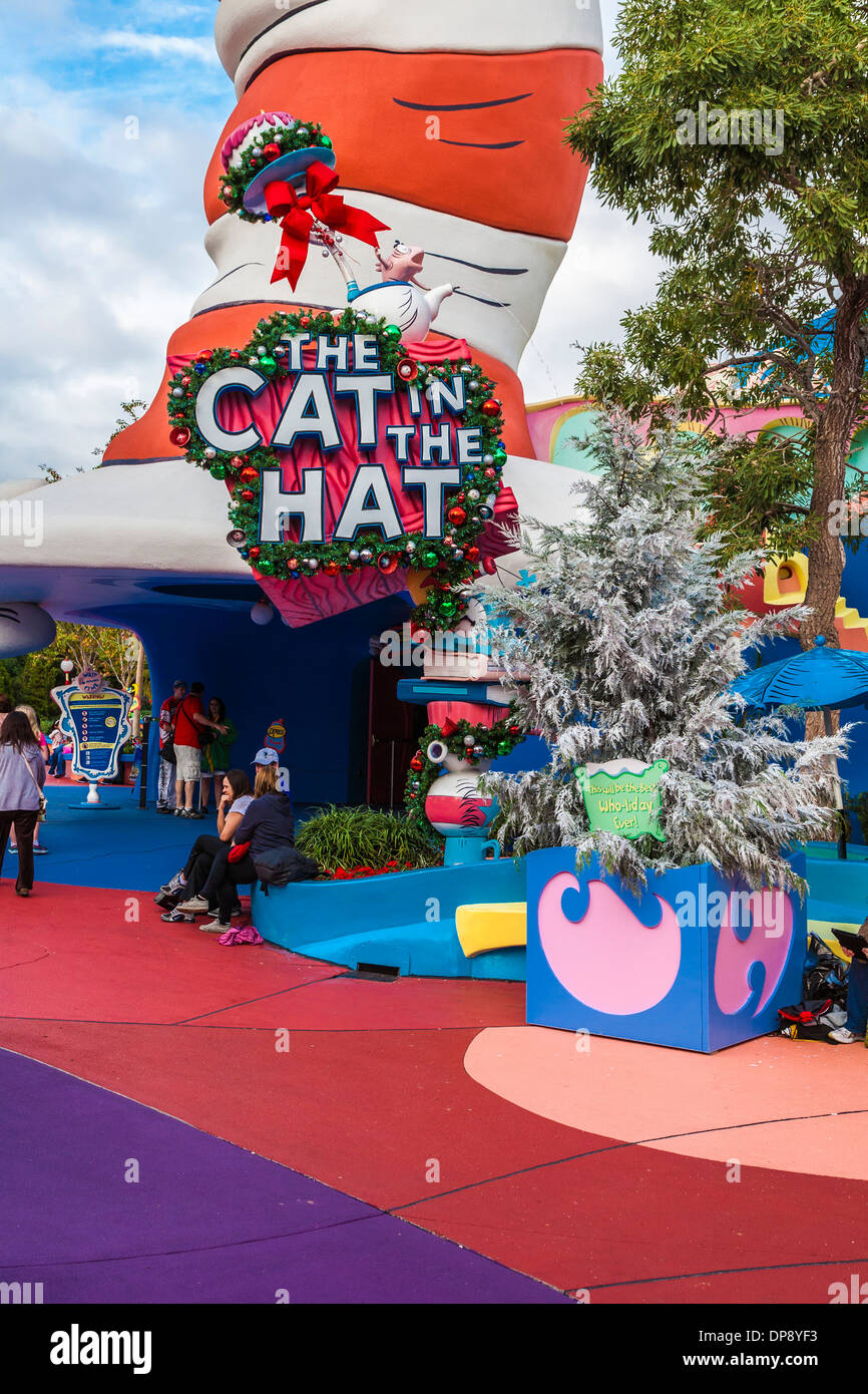 Island Christmas Theme.Entrance To Cat In The Hat Attraction At Universal Studios