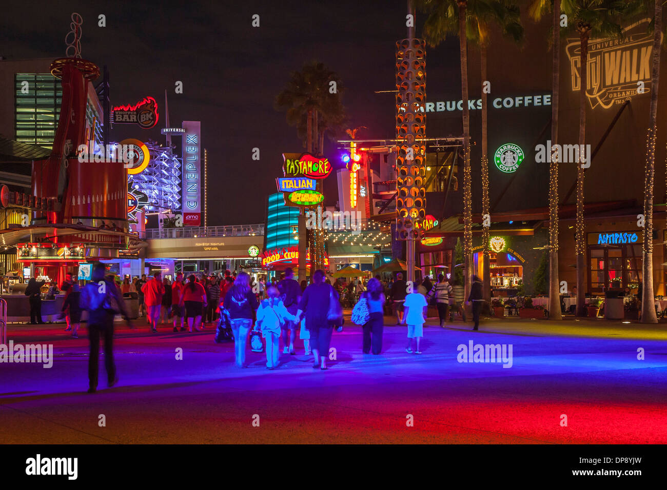 Bright colored neon lights near entrance to Universal Studios City Walk amusement park in Orlando, Florida - Stock Image
