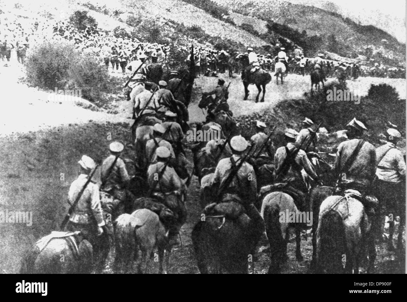 Russian cavalry in the Caucasus (undated). The deadly shots by Serbian nationalists on the Austrian heir to the throne Franz Ferdinand on the 28th of June in 1914 in Sarajevo caused the outbreak of the Great War, later to be called World War I, in August 1914. The Central Powers, namely Germany, Austria-Hungary and as well later the Ottoman Empire (Turkey) and Bulgaria against the Triple Entente, consisting of Great Britain, France and Russia, as well as numerous allies. The sad result of World War I, which ended with the defeat of the Central Powers: round 8.5 million soldiers killed in act - Stock Image