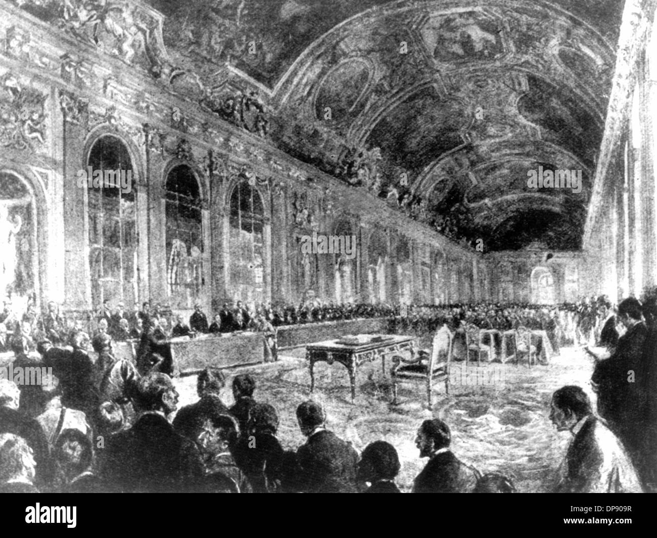 The signing of the peace treaty in the Palace of Versailles: Opening of the session by French minister president Georges Benjamin Clemenceau (drawing by George Scott).   The Treaty of Versailles was the most important of the treaties of Paris that ended World War I in 1919/1920. The Treaty of Versailles was signed in the Palace of Versailles on the 28th of June in 1919 between Germany and 27 allied and associated powers. It became law on the 20th of January in 1920. Without German participation, the peace treaty was negotiated about between Wilson, Lloyd George, Clemenceau and Orlando (the 'Bi - Stock Image