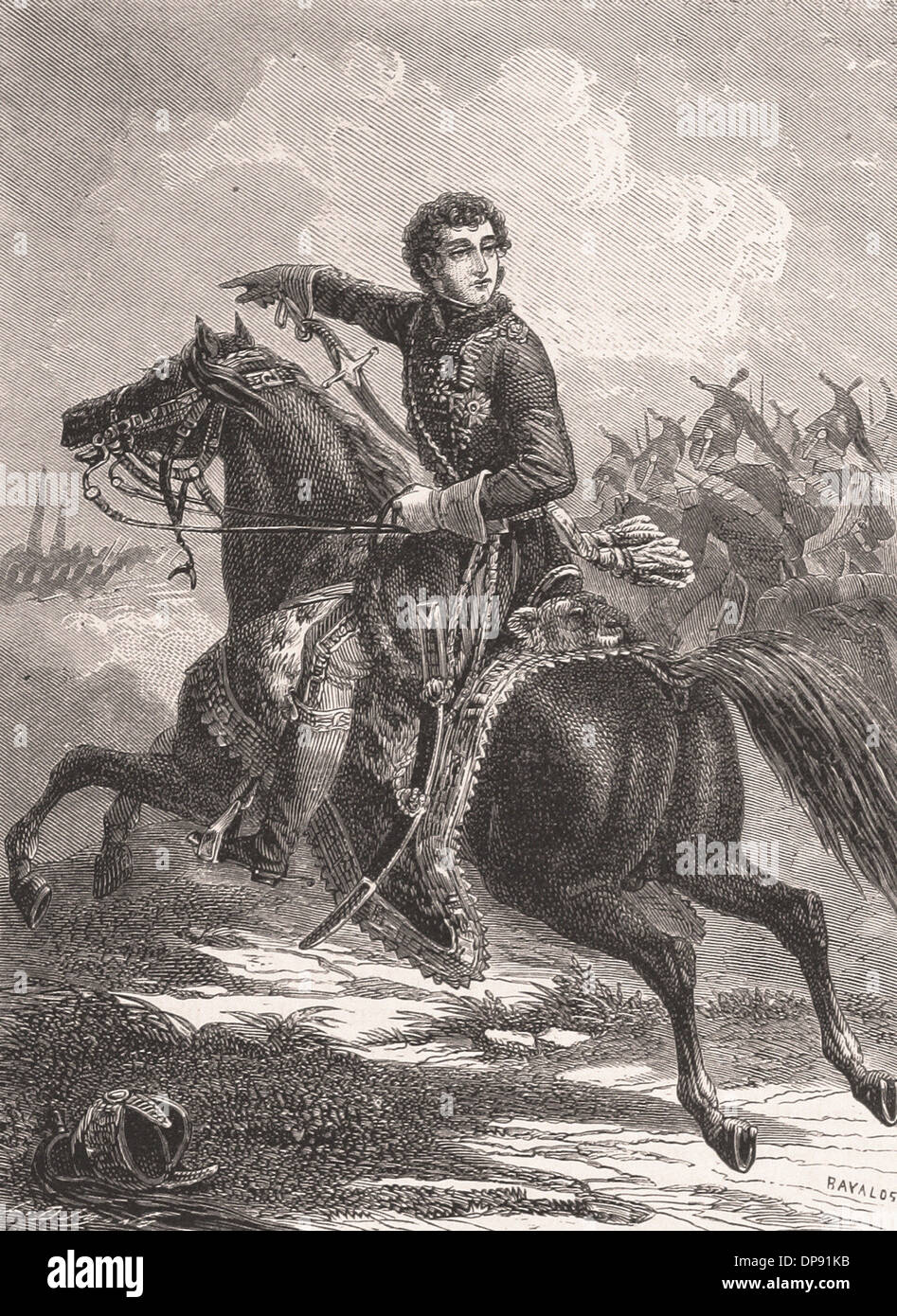MURAT au combat de WERTINGEN - French Engraving XIX th Century - Stock Image