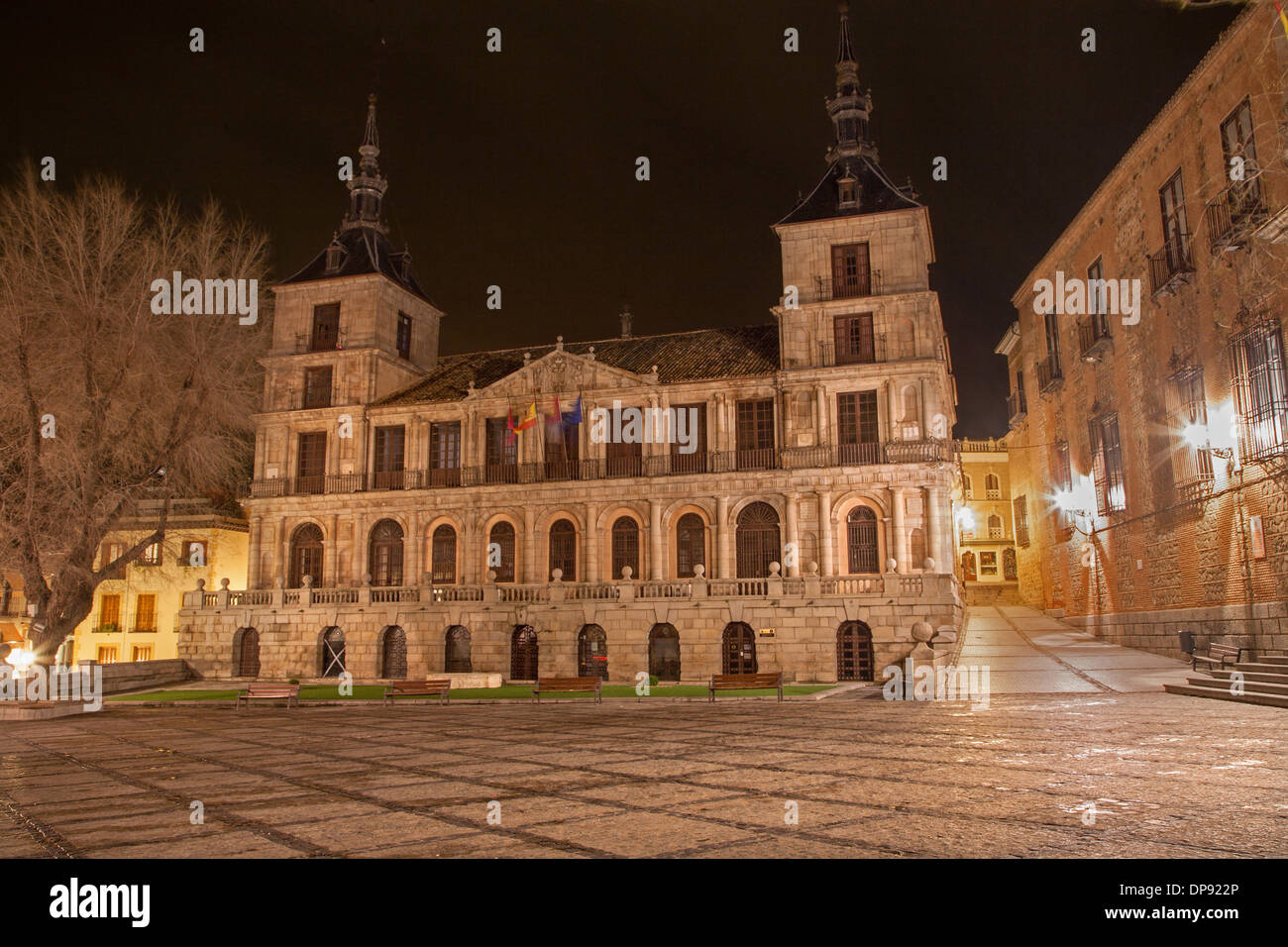 Toledo - town hall at night - Stock Image