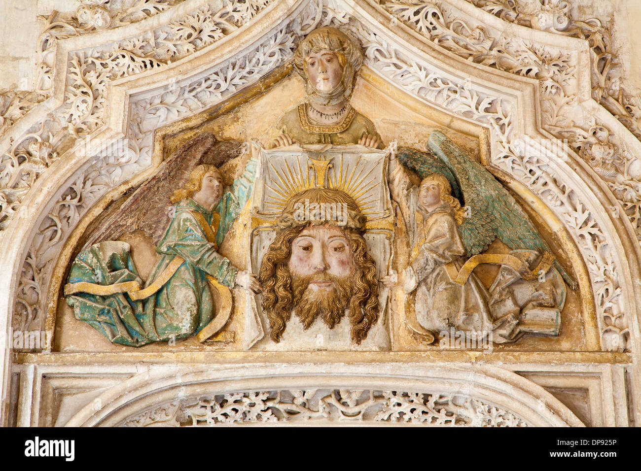 TOLEDO - MARCH 8: Detail from portal of Gothic atrium of Monasterio San Juan de los Reyes or Monastery of Saint John of the King - Stock Image