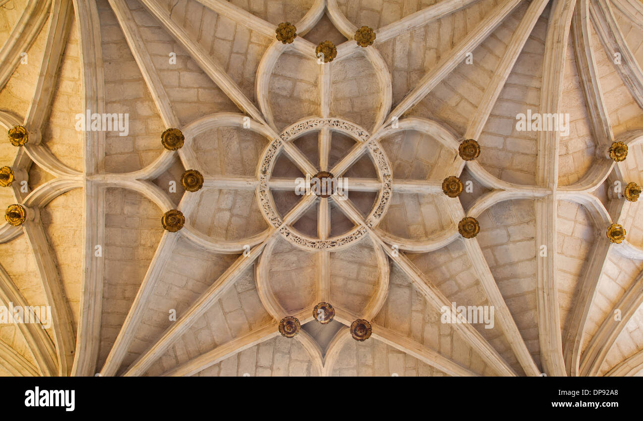 TOLEDO - MARCH 8: Gothic ceiling San Juan de los Reyes or Monastery of Saint John of the Kings - Stock Image