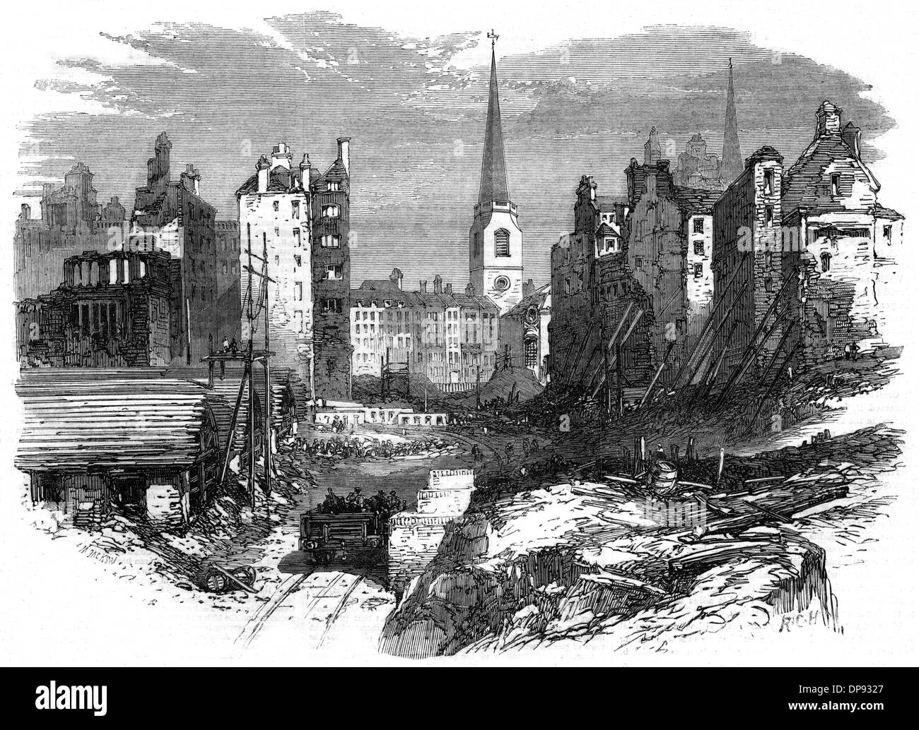 Railway works at  Dowgate Hill - Stock Image