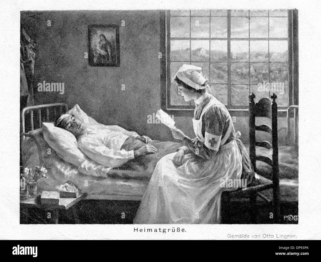 A fieldpostcard shows the painting of Otto Lingner, which depicts a nurse in her uniform with a Red Cross badge sitting at the bed of a wounded soldier. The postcard, which was published by Verlag der Photographischen Gesellschaft Berlin, was used during the Second World War with the subheading 'Greetings from Home'. Photo: Sammlung Sauer - Stock Image