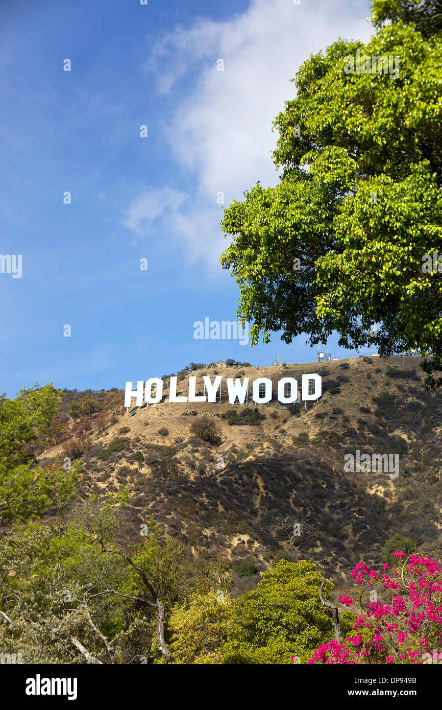 View of Hollywood sign, Los Angeles, California, United States of America, USA with hills, trees and sky - Stock Image
